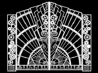 Archipedia - art d�co fer forg� gate - Porte Fen�tre 2 Vantaux