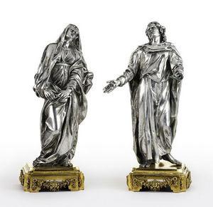 Dario Ghio Antiquites - statuettes en argent, vierge et st jean - Sculpture