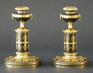 CHARLES AND REBEKAH CLARK - a pair of regency candlesticks - Bougeoir