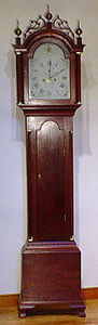 KIRTLAND H. CRUMP - cherry federal tall case clock made by silas parso - Horloge Sur Pied