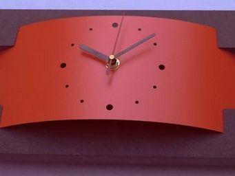 L'HEURE DU DESIGN - horloge design pluton rouge orang� - Horloge � Poser