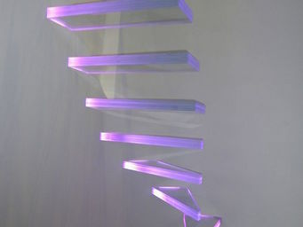 TRESCALINI - aero : escalier verre suspendu, marches lumineuses - Escalier Un Quart Tournant