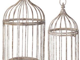 Esschert Design - cage � oiseaux d�coratives en m�tal patin� cr�me ( - Cage � Oiseaux