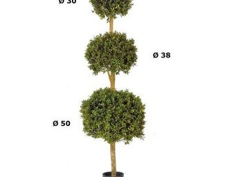 Deco Factory - buis artificiel boule triple sur tronc - Arbre Artificiel