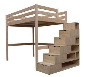 ABC MEUBLES - lit mezzanine sylvia 140x200 + escalier cube - Lit Mezzanine