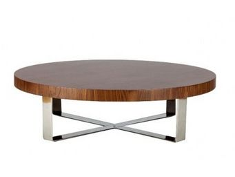 123 design - - table basse design colette walnut gloss - marron - Table Basse Ronde