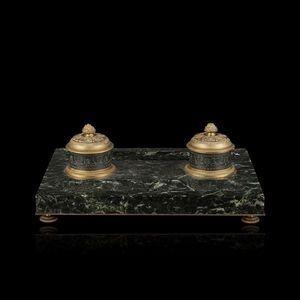 Expertissim - grand encrier rectangulaire en marbre vert de mer  - Encrier