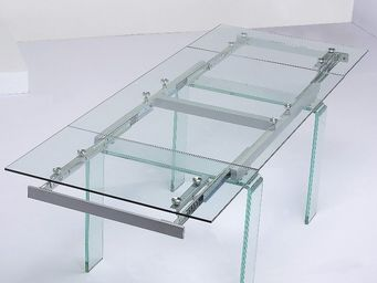 CLEAR SEAT - table en verre transparent à rallonge extensible d - Table À Rallonge