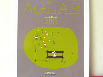 ICI LA TERRE - affiche personnalisée prénom bébé kensington - Tableau Décoratif Enfant