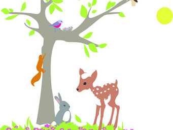 LILI POUCE - stickers l'arbre de la for�t - Sticker D�cor Adh�sif Enfant