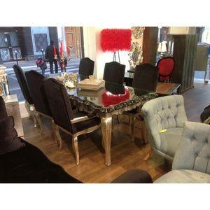 DECO PRIVE - table de salle a manger baroque en bois argente et - Salle À Manger
