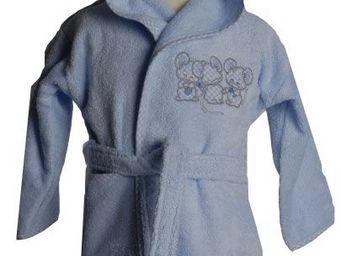 SIRETEX - SENSEI - peignoir enfant brodé 3 souris bleues - Peignoir Enfant