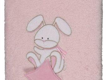 SIRETEX - SENSEI - serviette 50x90cm brod�e doudou rabbit rose - Serviette De Toilette Enfant