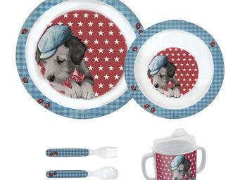 Orval Creations - coffret repas milou bleu - Assiette Enfant