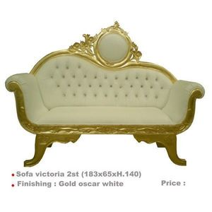 DECO PRIVE - canape sofa victoria 2 places dore et simili blanc - Canap� 3 Places