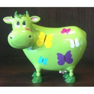 FAYE - tirelire vache verte papillons - Tirelire
