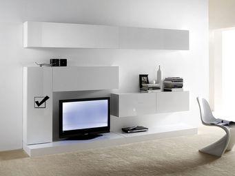 ACHATDESIGN - meuble tv mural vertical m blanc - Meuble De Salon Living