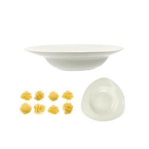 WHITE LABEL - assiette pasta triangle en c�ramique - Assiette � Spaghetti