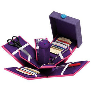 La Chaise Longue - boite à couture suédine rose et violette 10x10x11c - Boite À Couture