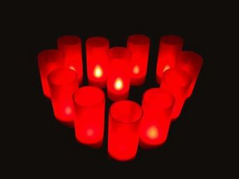 ZEN LIGHT - 12 bougies led rouges rechargeables avec photophor - Bougie Led