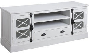 Aubry-Gaspard - meuble tv en pin blanc saga - Meuble Tv Hi Fi