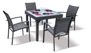 WILSA GARDEN - salon de jardin modulo gris 4 personnes en alumini - Salle À Manger De Jardin
