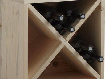 BARCLER - casier de rangement 16 bouteilles en epicéa 40x40x - Range Bouteilles De Comptoir