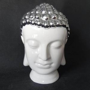 ZEN LIGHT - tête bouddha en céramique et chrome 13x13x20cm - Statuette