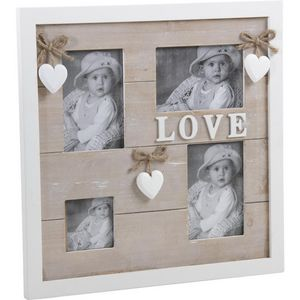Aubry-Gaspard - cadre mural love 4 photos en bois et verre 35x35x1 - Cadre Photo