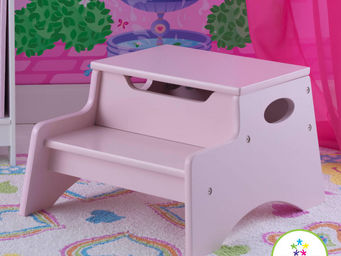 KidKraft - escabeau enfant avec rangement en bois rose 37x32x - Bureau Enfant