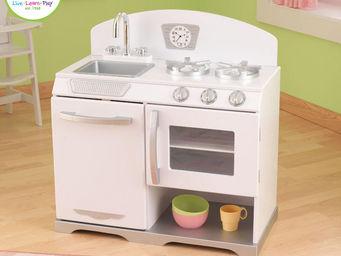 KidKraft - cuisine r�tro blanche en bois 66x36x68cm - Jouets De Poup�e