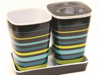 Cm - pot salle de bain multicolore - couleur - bleu - Porte Brosses � Dents