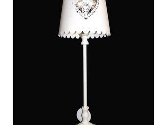 L HERITIER DU TEMPS - lampe electrique aluminium coeur - Lampe De Chevet