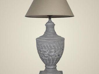 L'HERITIER DU TEMPS - lampe style loft fer & lin 62.5cm - Lampe De Chevet