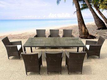 BELIANI - table 220 cm avec 8 chaises - Salle � Manger De Jardin