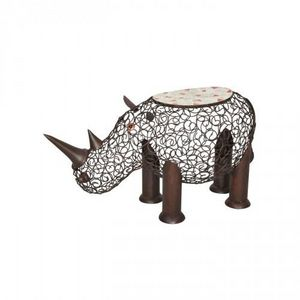 Demeure et Jardin - tabouret rhinoceros en fer forg� et mosaique - Sculpture Animali�re