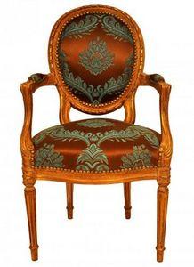 Demeure et Jardin - fauteuil cabriolet turquoise - Fauteuil M�daillon
