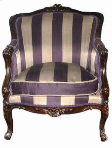 Demeure et Jardin - fauteuil bergère rayé lin et aubergine - Bergère
