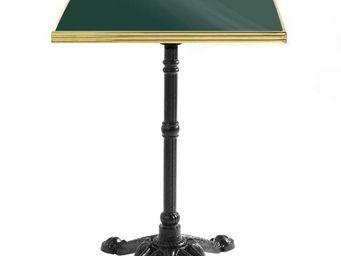 Ardamez - table de bistrot émaillée vert / laiton / fonte - Table Bistrot