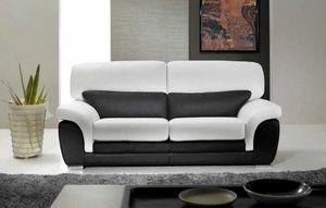 WHITE LABEL - cloé canapé cuir vachette 2 places. bicolore noir  - Canapé Chesterfield