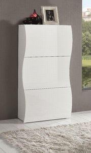 WHITE LABEL - meuble � chaussure onda de 3 portes blanc brillant - Meuble � Chaussures