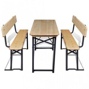 WHITE LABEL - table + 2 bancs pliables pique nique - Table Pique Nique