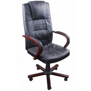 WHITE LABEL - fauteuil de bureau cuir noir classique - Fauteuil De Direction