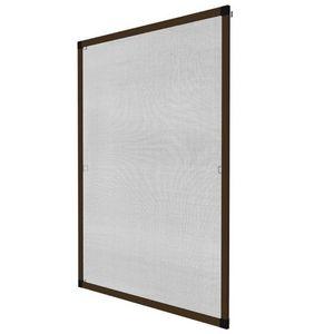 WHITE LABEL - moustiquaire pour fenêtre cadre fixe en aluminium 100x120 cm brun - Moustiquaire De Fenêtre