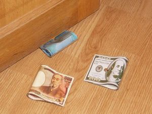 WHITE LABEL - stop-porte : billet monnaie 100 dollars objet deco - Cale Porte