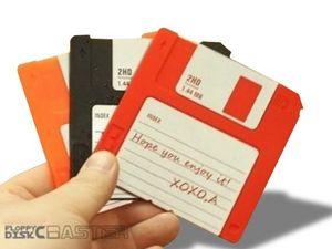 WHITE LABEL - lot de 6 dessous de verre disquettes colorées dec - Sous Verre