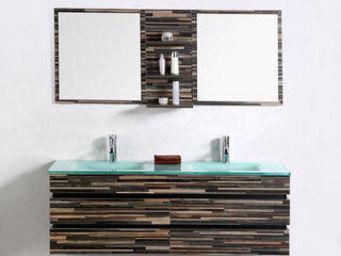 UsiRama.com - ensemble meuble salle de bain camouflage 140cm - Meuble Double Vasque