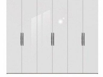 WHITE LABEL - dressing penderie london six portes à battant blan - Armoire Dressing