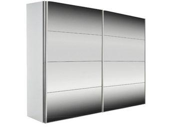 WHITE LABEL - dressing kick 202cm miroir et cadre blanc avec por - Armoire À Portes Coulissantes