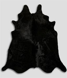 WHITE LABEL - tapis en peau de vache noir - Peau De Vache